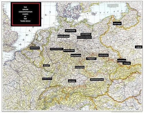 Map Of The Major Concentration Camps