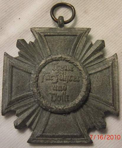 Click image for larger version.  Name:German NSDAP 10 Year Long Service Bronze Medal (WW2) 2.jpg Views:401 Size:55.7 KB ID:122627