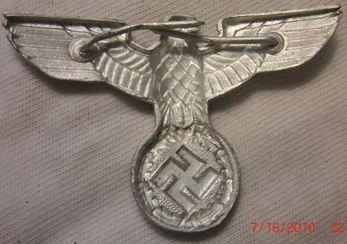 4 German Medals/pins: Eisernes Kreuz, Kriegsverdienstkreuz, NSDAP Dienstauszeichnung in Bronze, and hat pin.
