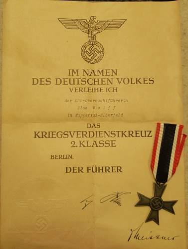 Kriegsverdienstkreuz DRK Else Wolff