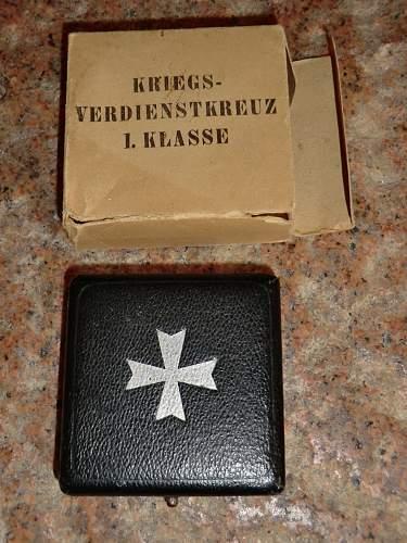 Kriegsverdienstkreuz 1. Klasse ohne Schwerten mit Etui.