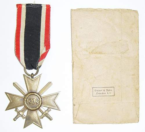 Click image for larger version.  Name:War Merit Cross 2nd class with packet of issue, reverse..JPG Views:137 Size:145.1 KB ID:5164
