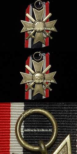 Kriegsverdienstkreuz 2 Klasse. Version of wearing.