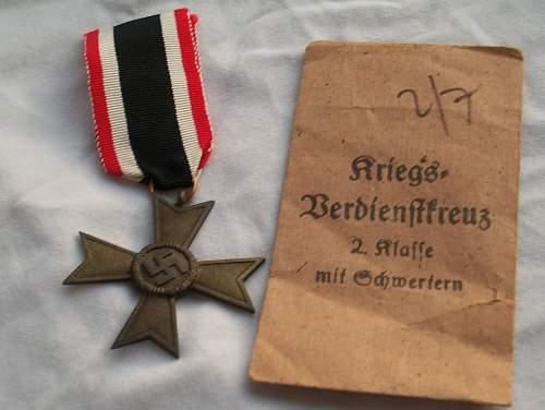 Kriegsverdienstkreuz 2 Klasse with Souval packet.