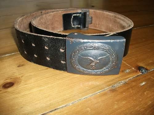 "Luftwaffe steel buckle ""N & H 1942"" with late war belt"