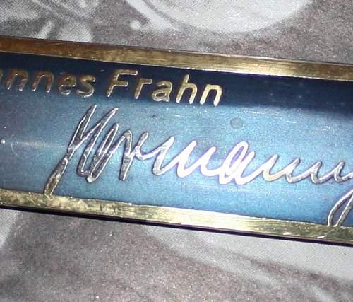 """Dagger dlade """"Dem unteroffizier Johannes Frahn zum 35 luftsieg"""""""