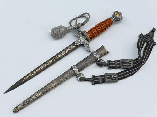 2nd Luftwaffe Damascus steel and hangers by P.D. Luneschloss