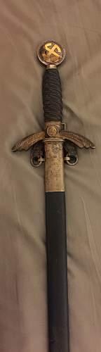 Flak Regiment marked Luftwaffe officers sword