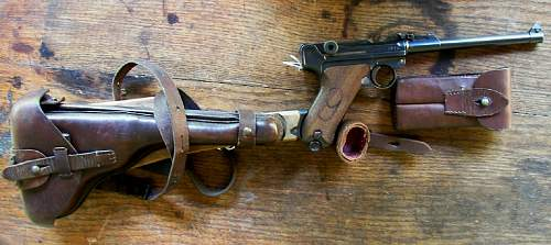 """Luger 1916 with """"red nine"""" on grips."""