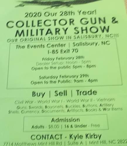 Salisbury, n.c. Militaria & gun show 2020