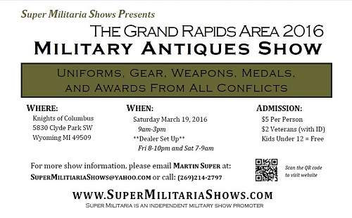 Grand Rapids Michigan Military Antique Show March 19, 2016