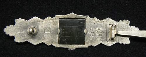 Nahkampfspange in Silber, JFS, First Pattern.