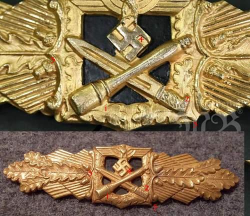 Nahkampfspange des Heeres in Gold, in Etui.