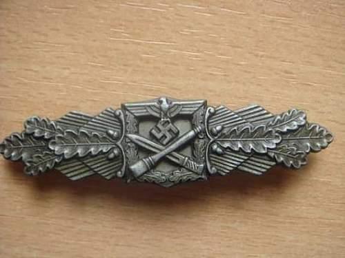 Nahkampfspange medalj in Silver
