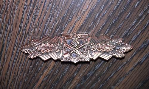 Unmarked Nahkampfspange in Bronze