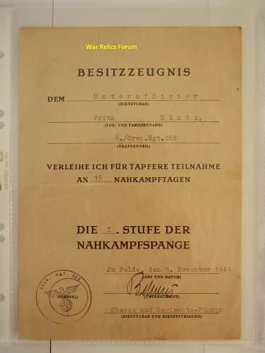 Makers of the Nahkampfspange