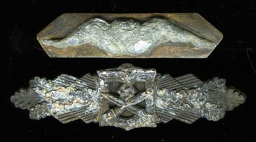 """Nahkampfspange in bronze with another """"Trench Art"""" award"""