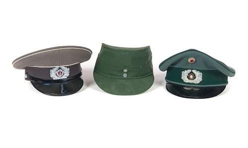 East German Helmet M56, Visor and West German visor and cap.
