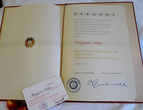 DDR  Verdienstmedaille