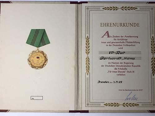 Medaille Für Treue Dienste in der Deutschen Volkspolizei Stufe III