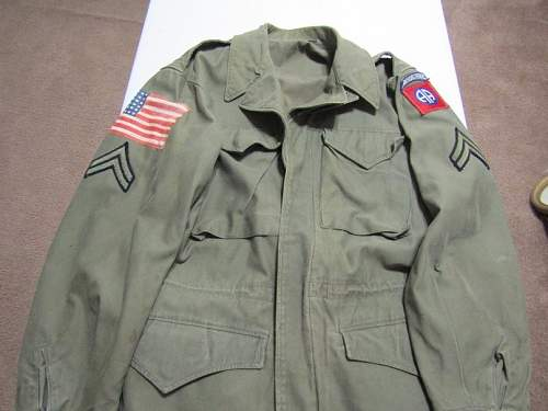 Need Help. M1943 jacket with 82nd AB patch and arm flag