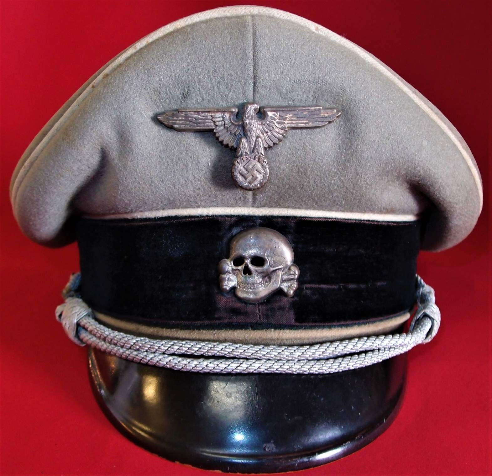Is this WW2 German Waffen S S  officer's peaked cap
