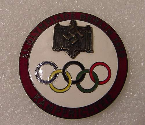 Click image for larger version.  Name:German Nazi Olympic Red Judges Pin.jpg Views:1593 Size:113.0 KB ID:112112