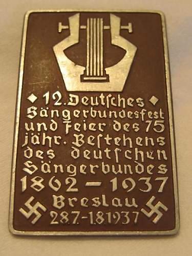 DSB Sangerbund Badge 1937