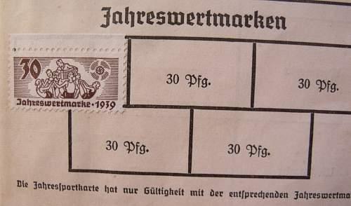 Deutsche Arbeitsfront Jahres Sportkarte