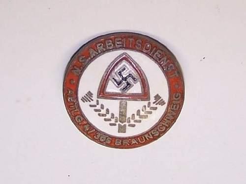 RAD Pin - N.S. Abtlg. 4/305 Braunschweig Arbeitsdienst: Authentic Piece? Info?