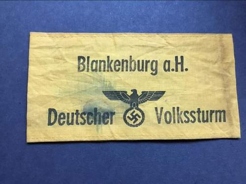 Identifying this Volkssturm armband 1945 REAL or FAKE