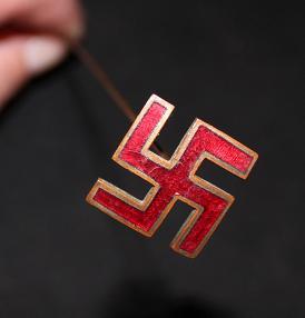 Swastika red enameled Ladies hat pin