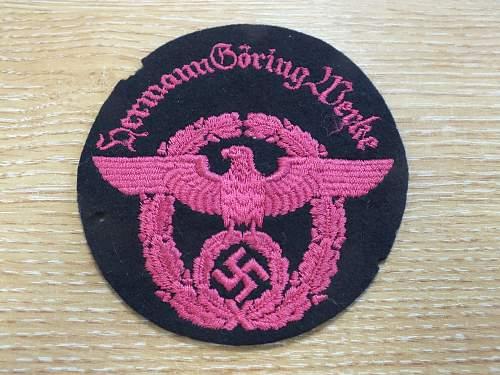 """Hermann Goering"" fire police (?) patch"
