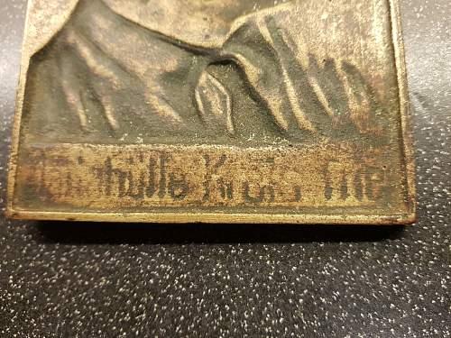 Authentisity of Adolf Hitler brass plakette?