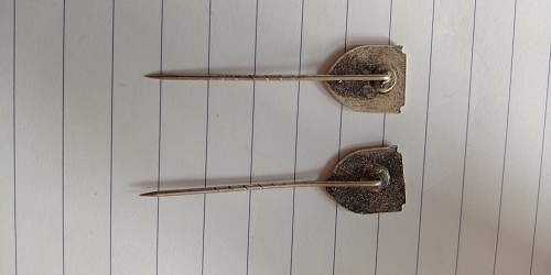 """Unknown stickpins """"JGS 100"""" and """"JGS 200"""", please help with identification!"""