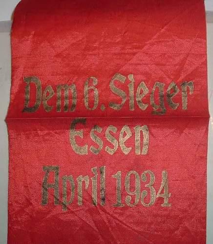 Dem 6 Sieger Essen April 1934 Sash - what for ?
