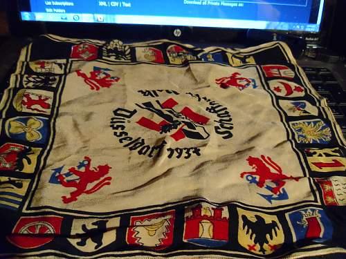 Souvenir German work party handkerchief- Dusseldorf, 1937: Any info appreciated