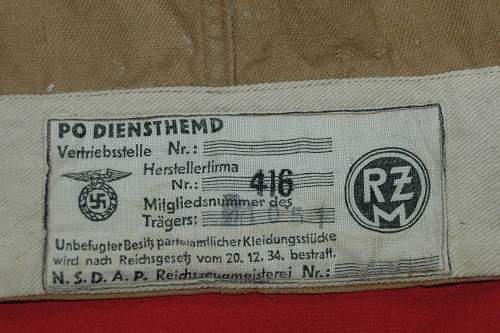 NSDAP Brown Shirt, early Kreisleitung with great RZM tag