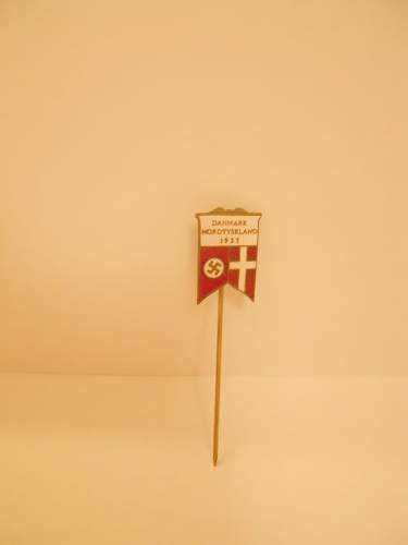 Stickpin- with text Denmark, Germany North 1937