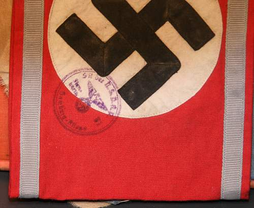 Unusual armband with nsdap acceptance stamp overlaying the nazi cross ?