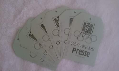 1936 Olympic Press Passes