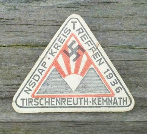 1936  NSDAP Kreistreffen cardboard tinnie