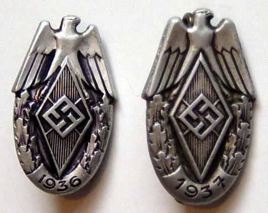 Click image for larger version.  Name:Hitler Youth Sports festival badges for 1936 and 1937..jpg Views:123 Size:32.2 KB ID:32519
