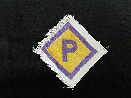 Unknown Insignia - purple P on yellow diamond, and swastika with oak leaf wreath