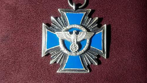 Police Wreath Cross Medal, Came with a Hat Eagle and other Original items, Is this WW2 or a Reproduction