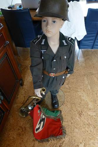 German Childrens Uniform complete with Helmet, shoes, buckle and trumpet