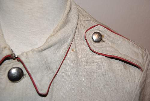 * Help * Unknown Red Piped HBT Drillich Blouse