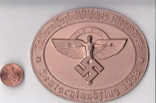 Two NSFK 1938 medallions
