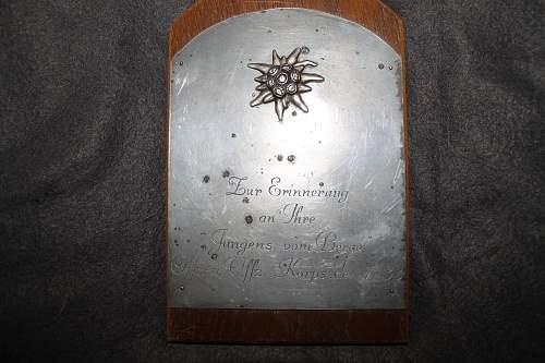 gebirgsjager plaque 1933?