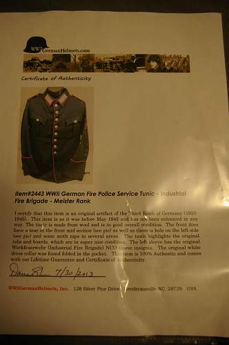 Opinions ? Fire Police Service tunic, industrial fire brigade